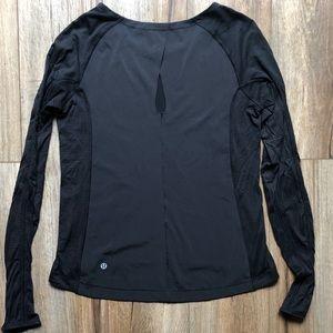 Lululemon mixed fabric l/s keyhole top